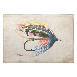 Los salmones FlyFishing del arte del señuelo vuela Mantel