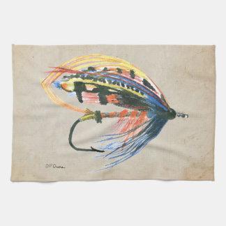 Los salmones FlyFishing del arte del señuelo vuela Toalla De Cocina