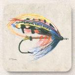 Los salmones FlyFishing del arte del señuelo vuela Posavasos De Bebidas