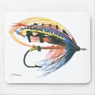 Los salmones FlyFishing del arte del señuelo vuela Tapetes De Ratón