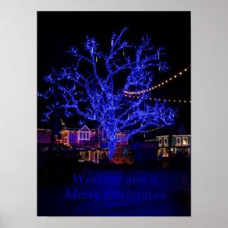 Los saludos azules del árbol póster