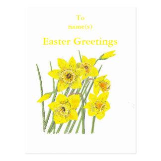 Los saludos bonitos de Pascua de los narcisos Tarjetas Postales