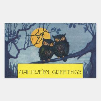 Los saludos de Halloween del vintage, búhos en el Pegatina Rectangular
