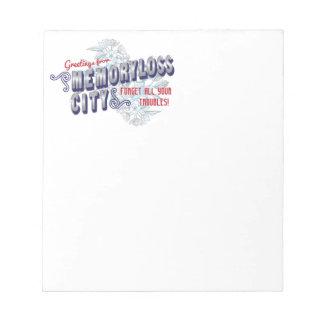 Los saludos de la ciudad de Memoryloss - olvide lo Libreta Para Notas