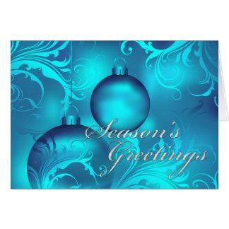 Los saludos de la estación azul del ornamento tarjeta de felicitación