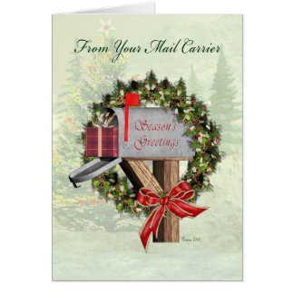 Los saludos de la estación del buzón del cartero tarjeta de felicitación