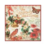 Los saludos de la estación del navidad del vintage impresión en lienzo estirada