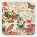 Los saludos de la estación del navidad del vintage pegatina cuadrada