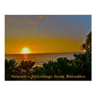 Los saludos de la estación del paraíso en la tarjetas postales