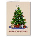 Los saludos de la estación, feliz árbol de navidad felicitación