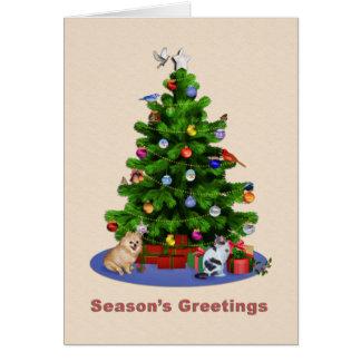 Los saludos de la estación, feliz árbol de navidad tarjeta de felicitación