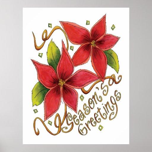 Los saludos de la estación linda del navidad con póster