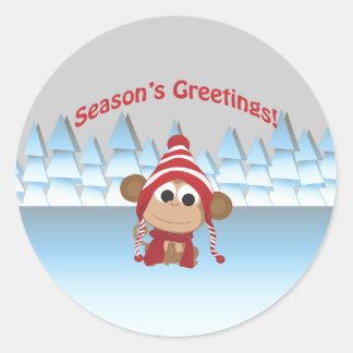 ¡Los saludos de la estación!  Mono Pegatina Redonda