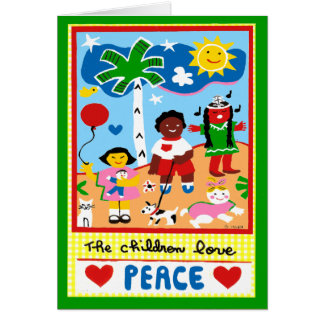 Los saludos de la estación sobre paz y amor tarjeta de felicitación