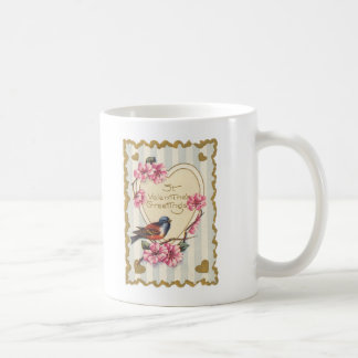 Los saludos de la tarjeta del día de San Valentín  Taza De Café