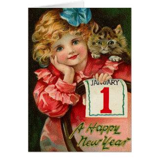 Los saludos del Año Nuevo del vintage Felicitacion