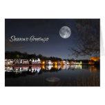Los saludos del invierno de la noche del Boathouse Tarjetas