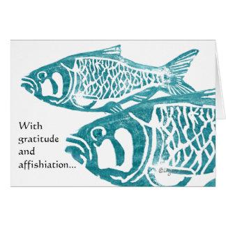 Los saludos divertidos de la gratitud de los pesca felicitación