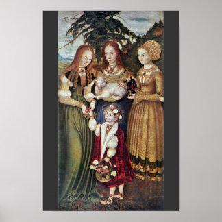 Los santos Inés y Dorothy Kunigunde por Cranach Poster