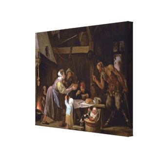 Los sátiros y la familia impresiones en lienzo estiradas