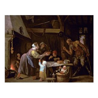Los sátiros y la familia tarjetas postales