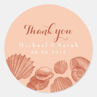 Los Seashells coralinos del vintage le agradecen Pegatina Redonda