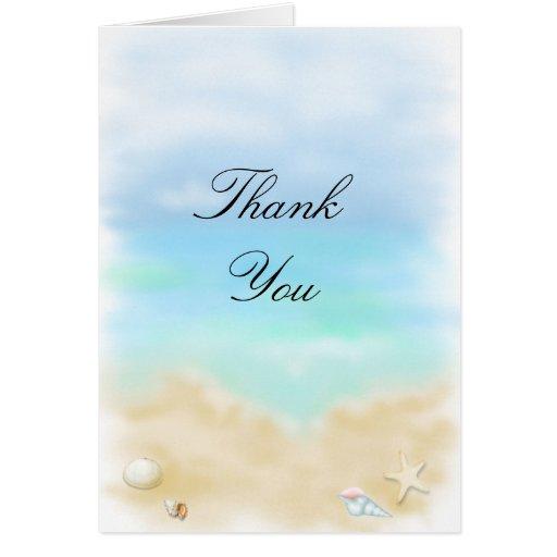 Los Seashells en el boda   de playa le agradecen c Tarjetón