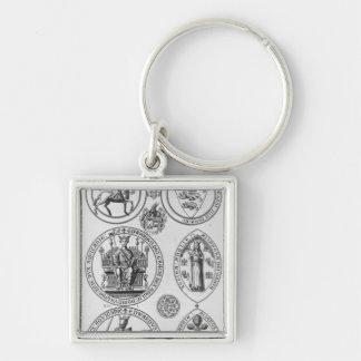 Los sellos de Edward I Llavero Cuadrado Plateado