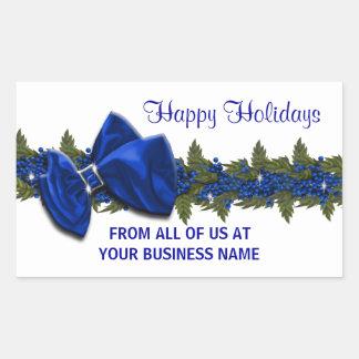 Los sellos del saludo del negocio del navidad pegatina rectangular