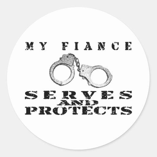 Los servicios del prometido protegen - el gorra pegatina redonda