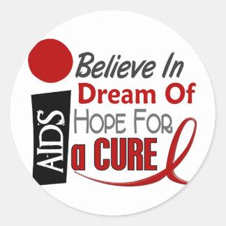 LOS SIDA/VIH CREEN ESPERANZA IDEAL PEGATINA REDONDA