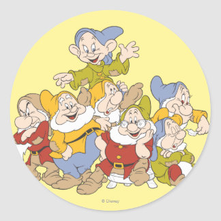 Los siete enanos 4 pegatina redonda