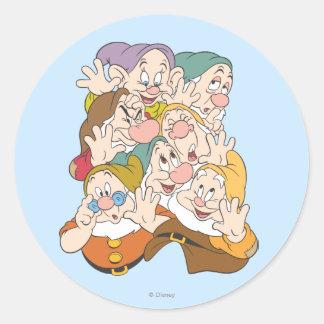 Los siete enanos pegatina redonda