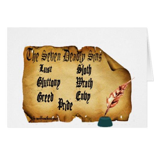 Los siete pecados mortales tarjeton