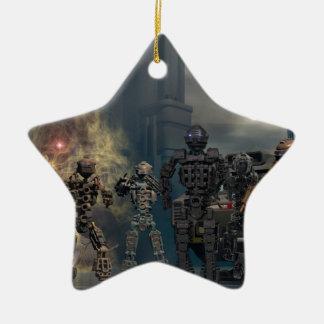los siete robots gloriosos b adorno navideño de cerámica en forma de estrella