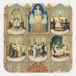 Los siete sacramentos calcomanía cuadradas personalizada