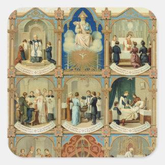Los siete sacramentos pegatina cuadrada