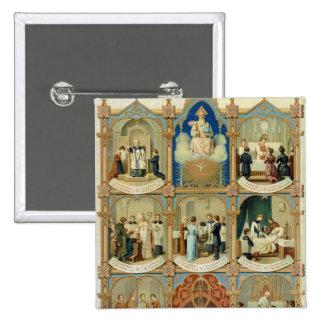 Los siete sacramentos pin cuadrada 5 cm