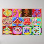 Los símbolos del amo curativo de REIKI Karuna Poster