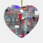 Los símbolos patrióticos adorno de cerámica en forma de corazón