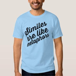 Los símiles son como la camiseta de las metáforas playera