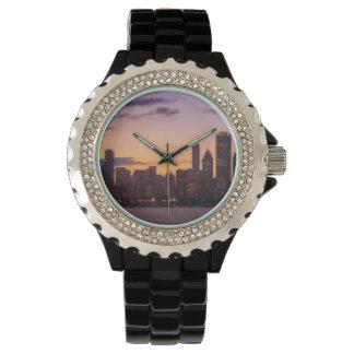 Los sistemas del sol sobre el horizonte de Chicago Relojes De Pulsera