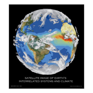Los sistemas y el clima de la tierra por satélite  póster