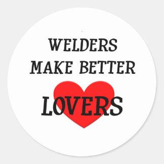 Los soldadores hacen a mejores amantes pegatina redonda