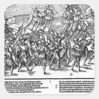 Los soldados capturan el Kerne de madera de toma Pegatina Cuadrada