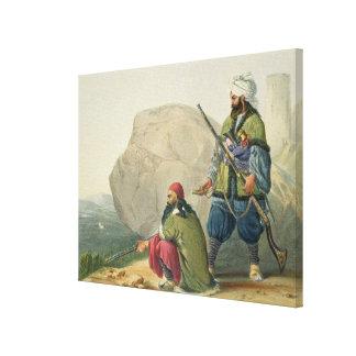 Los soldados de infantería de Afghaun en su invier Lona Envuelta Para Galerías
