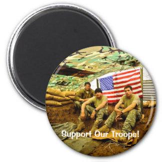 Los soldados de OEF, apoyan a nuestras tropas Imán Redondo 5 Cm