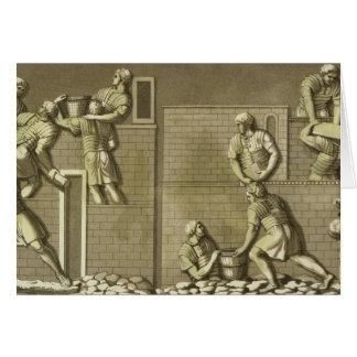 Los soldados romanos que construyen un fuerte pla tarjeton
