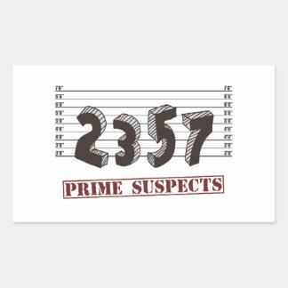 Los sospechosos del número primero pegatina rectangular
