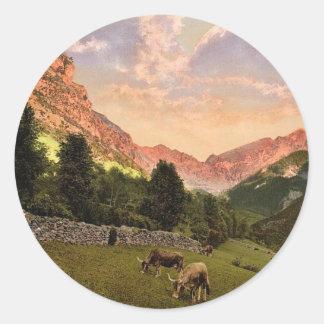 Los suburbios, Eaux Bonnes, obra clásica de los Pegatinas Redondas